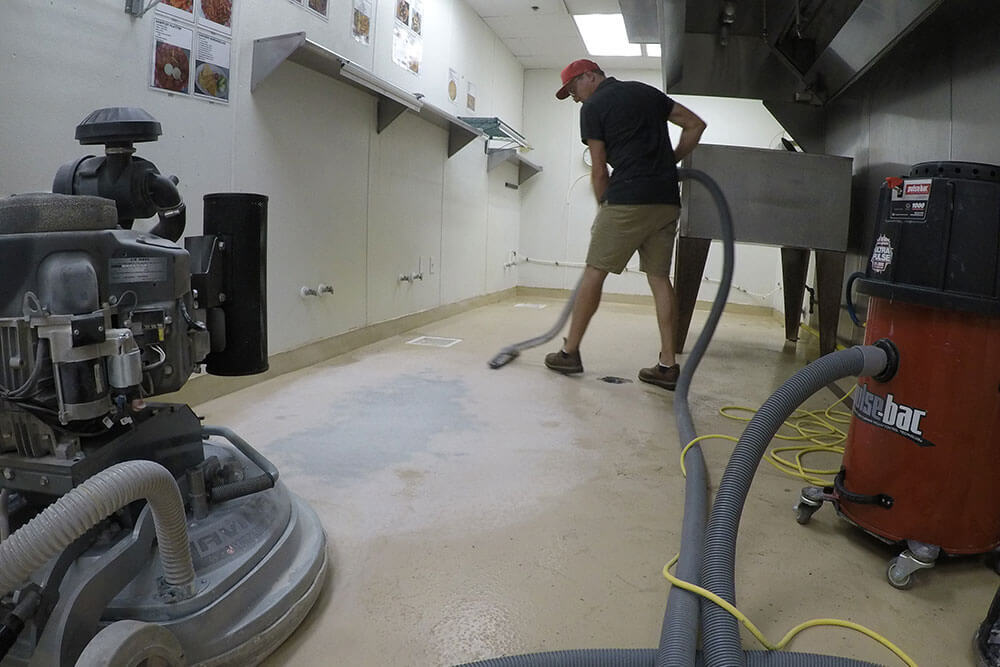 Anderson Painting coating a commercial floor