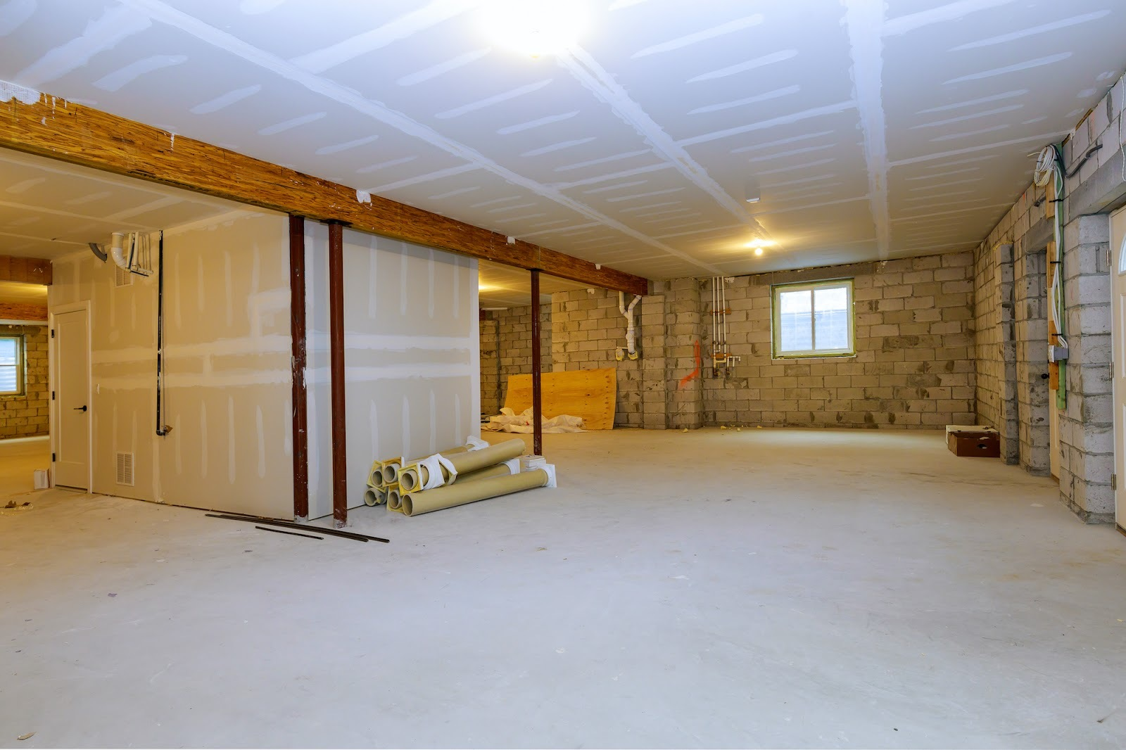 Fully stripped basement before painting job