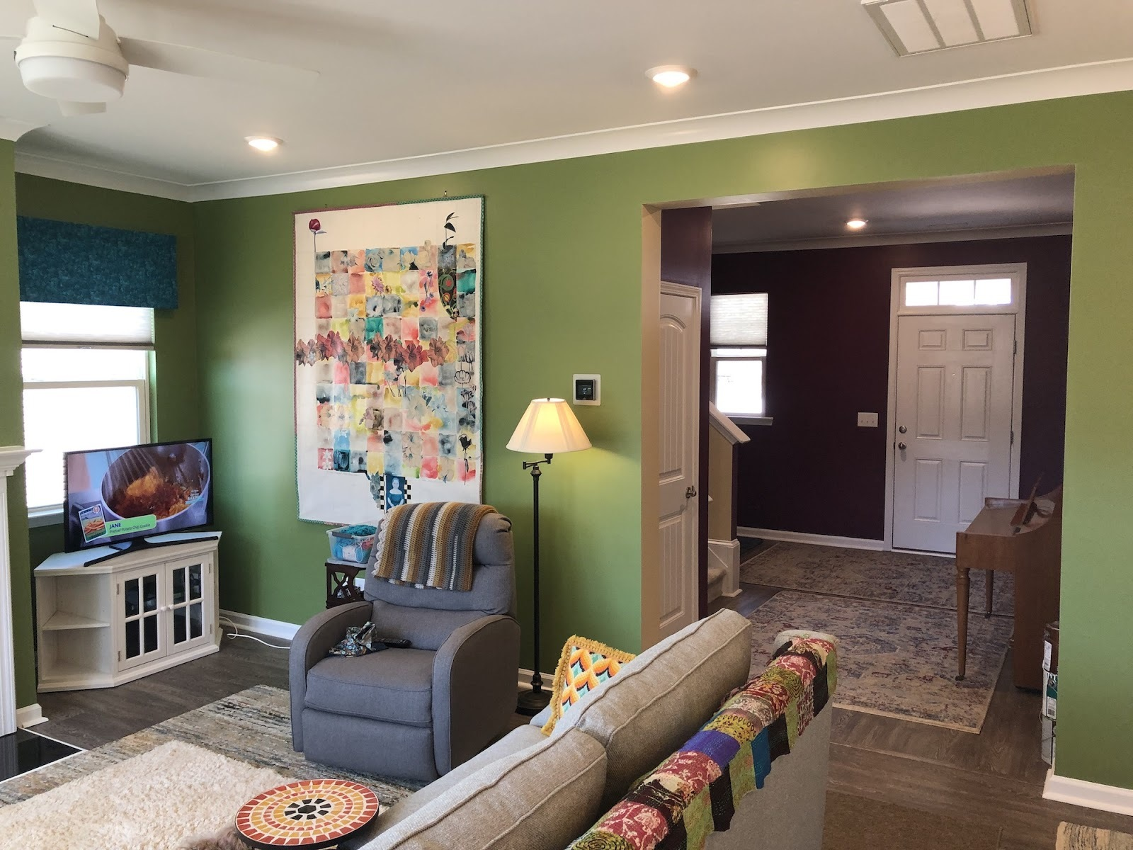 Family room with fresh green paint
