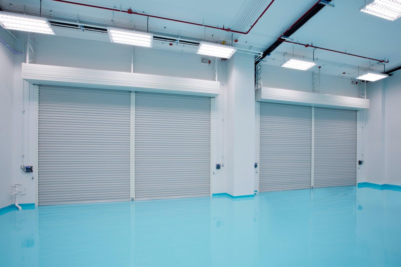 Light blue painted concrete floor