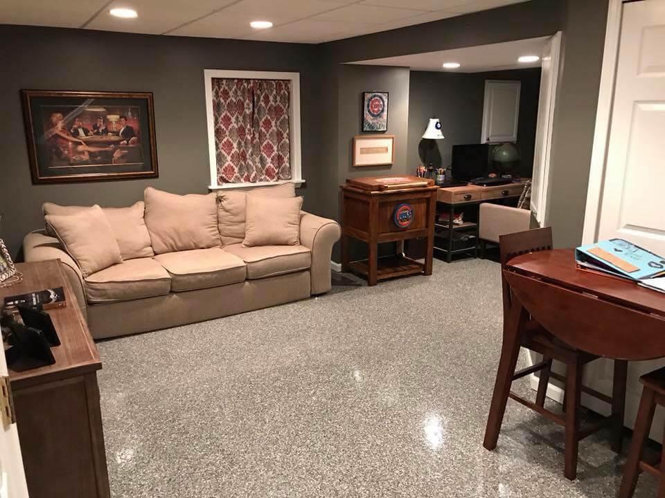 Freshly coated concrete basement floor