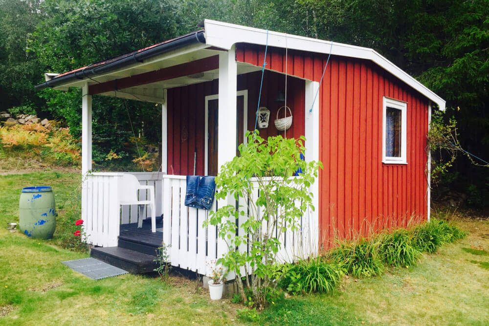 Red painted exterior shed