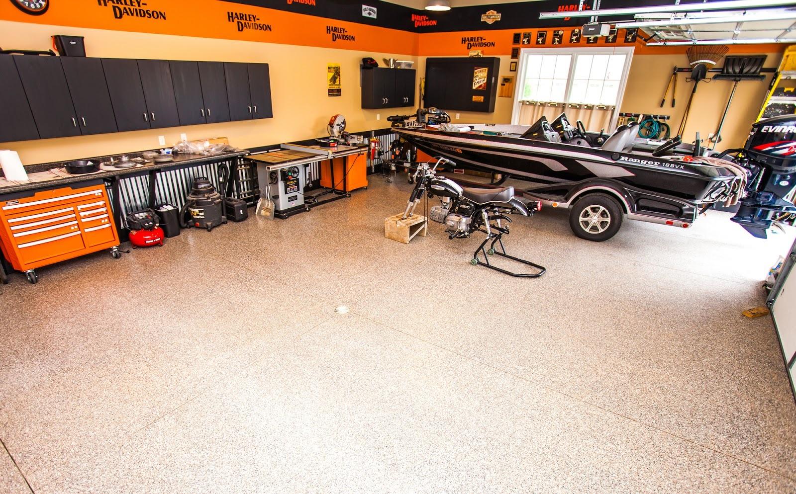 Commercial floor coating in a garage