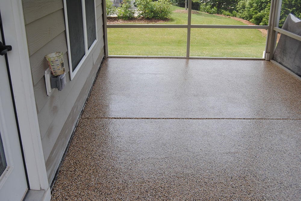 Outdoor porch with polished concrete