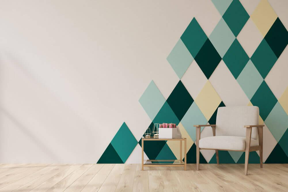 Modern painted living room wall