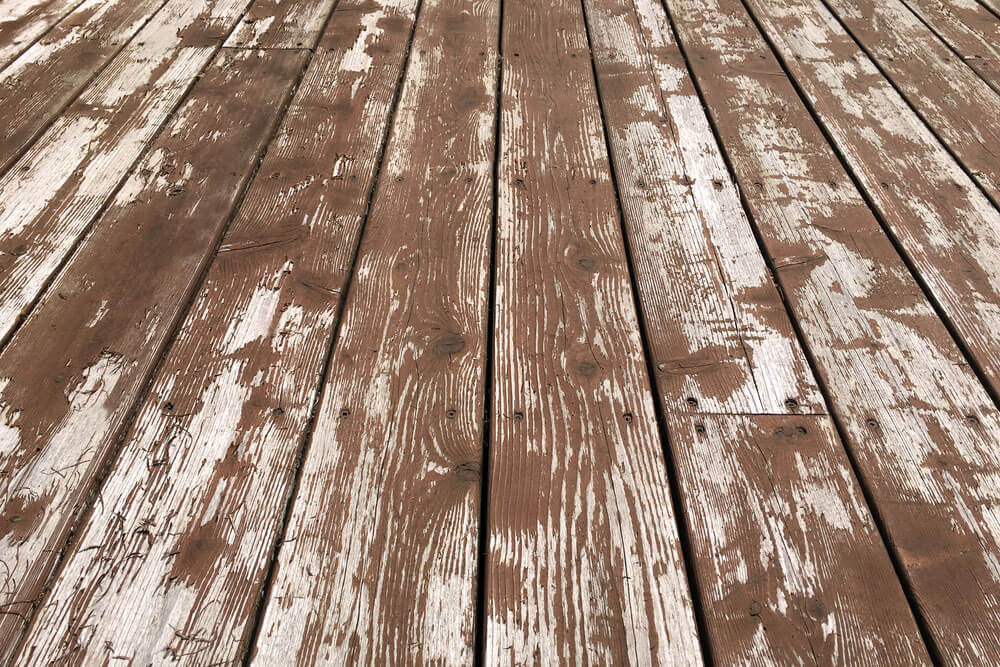 Deck with faded stain