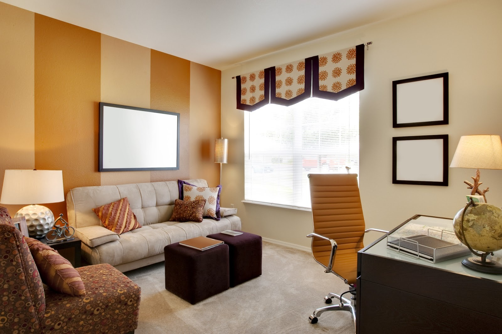 Brown accent wall in a living room