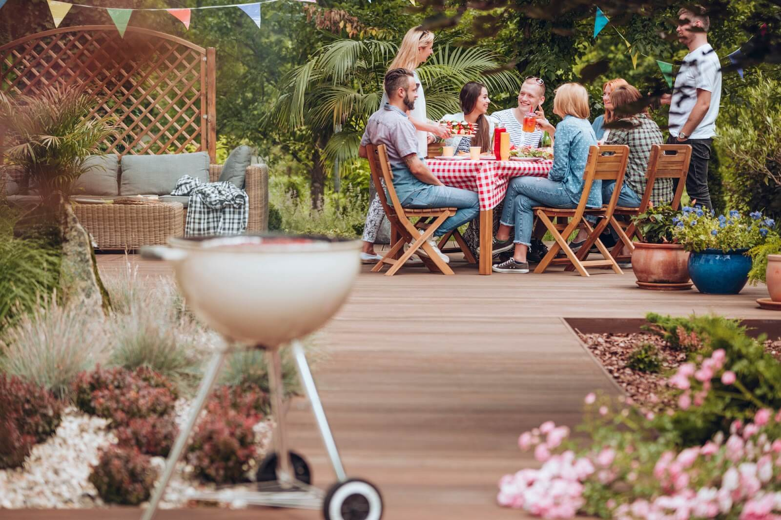 Group together on a patio